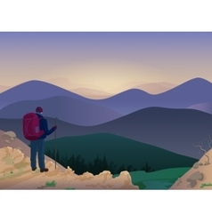 Woman hiker on top of a mountain watching vector