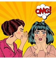 Woman whispering secret to her friend pop art vector