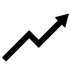 Growth trend chart flat icon vector