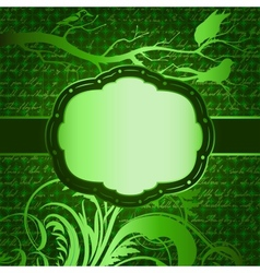 Green luxury background with tree branch and birds vector