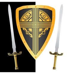 fantasy shield and swordsthird variant vector image