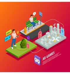 Augmented Reality AR Games Isometric Poster vector image