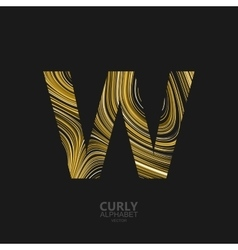 Curly textured letter w vector