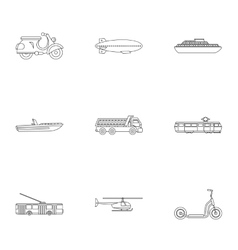 Movement icons set outline style vector