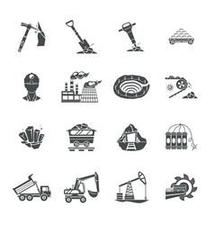 Coal mining equipment black icons set vector