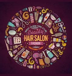Set of hair salon cartoon doodle objects vector