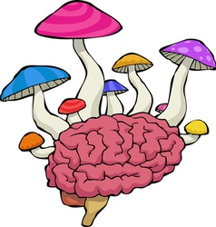Brain with mushrooms vector