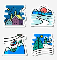 Winter landscapes icons set colorful thin simply vector