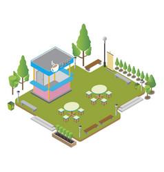 isometric small coffee shop with tables and vector image