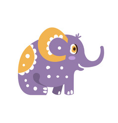 Cute cartoon elephant character sitting side view vector