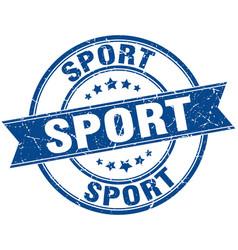 Sport round grunge ribbon stamp vector