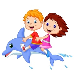 Cartoon boy and girl riding a dolphin vector