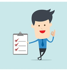 Business man show checklist note vector