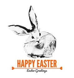 Card with sketch easter rabbit vector