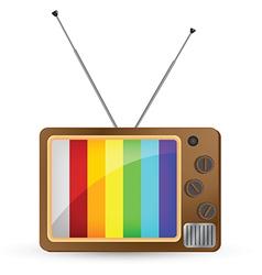 Brown vintage tv with rainbow screen vector
