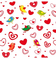 Seamless pattern with hearts and birds vector
