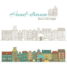 Hand-drawn buildings vector