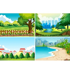 Four nature scene at daytime vector