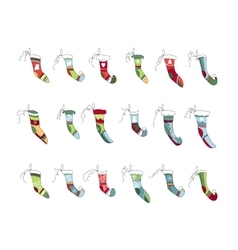 Set of different textile santa socks vector