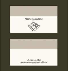 Business card layout linear geometric logo and vector