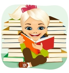 Little blonde girl reading an interesting book vector