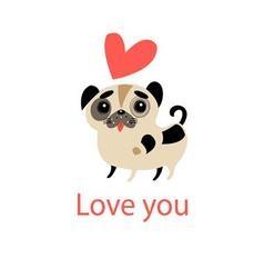 Little funny in love with a puppy vector