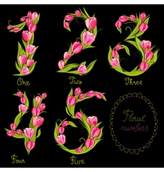 Set of floral decorative numbers vector