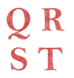 Red sketch font set - letters q r s t vector