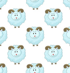 Seamless pattern with cartoon sheep vector