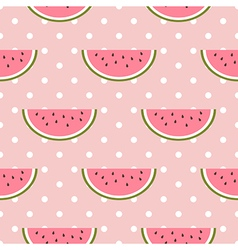 Watermelon seamless pattern with polka dot vector image