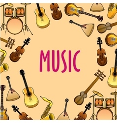 Music background with classic ethnic instruments vector image