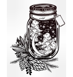 Wish jar with night sky moon and stars vector