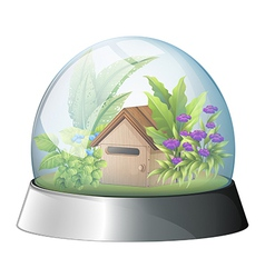 A dome with a native house inside vector image vector image