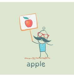 a man with a sign painted apple vector image vector image