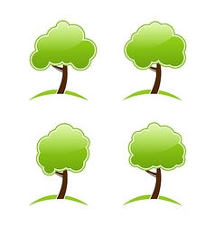 Abstract green various icons trees vector image vector image