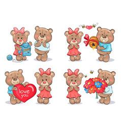Adorable teddy bears couples exchange presents vector