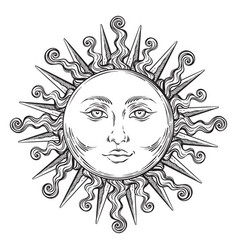 antique style hand drawn art sun boho chic tattoo vector image vector image