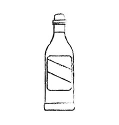 Black blurred silhouette cartoon glass bottle of vector