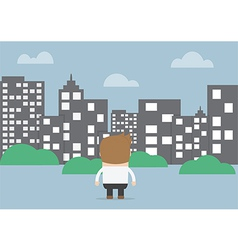 Businessman looking to silhouette city vector image