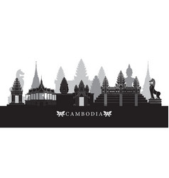 Cambodia landmarks skyline in black and white vector