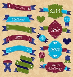 Christmas set geometric labels and ribbons vector image vector image