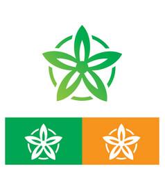 circle leaf flower nature logo vector image vector image