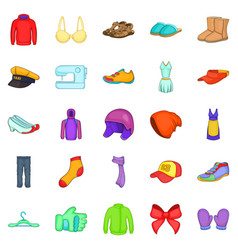 Clothing repair icons set cartoon style vector
