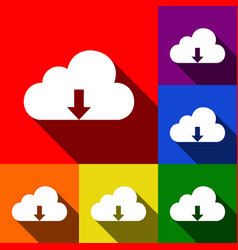 cloud technology sign set of icons with vector image