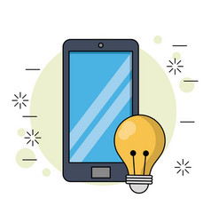 Color background with smartphone and light bulb vector