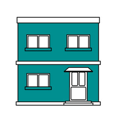Color silhouette cartoon blue facade apartment vector