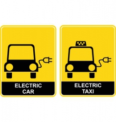 electric car electric taxi sign vector image vector image