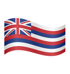 flag of hawaii waving on white background vector image