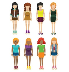 Frontview of faceless women vector image vector image