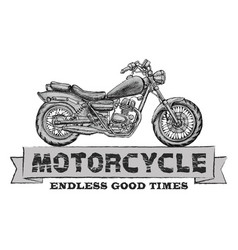 hand drawn chopper motorcycle quote vector image vector image